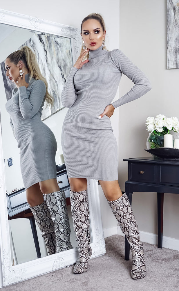 Juliet Grey Knit Long Sleeve Midi Dress - Missfiga.com