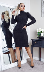 Cullan Black Cable Knit Long Sleeve Midi Dress