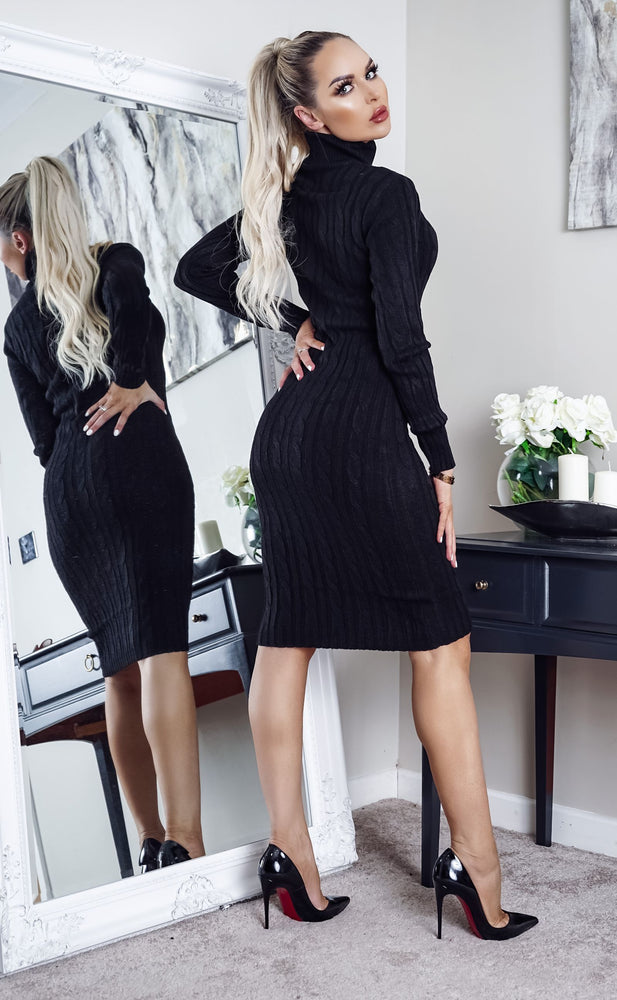 Cullan Black Cable Knit Long Sleeve Midi Dress - Missfiga.com