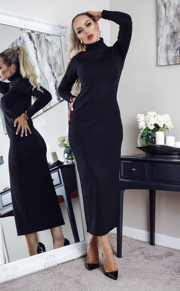 Tulisa Black Knit Long Sleeve Maxi Dress - Missfiga.com