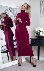 Tulisa Burgundy Knit Long Sleeve Maxi Dress - Missfiga.com