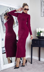 Tulisa Burgundy Knit Long Sleeve Maxi Dress