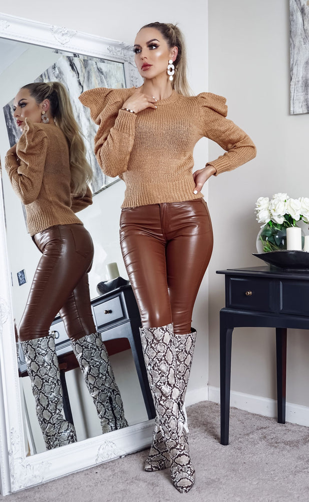 Kimmy Camel Puff Long Sleeve Knit Top