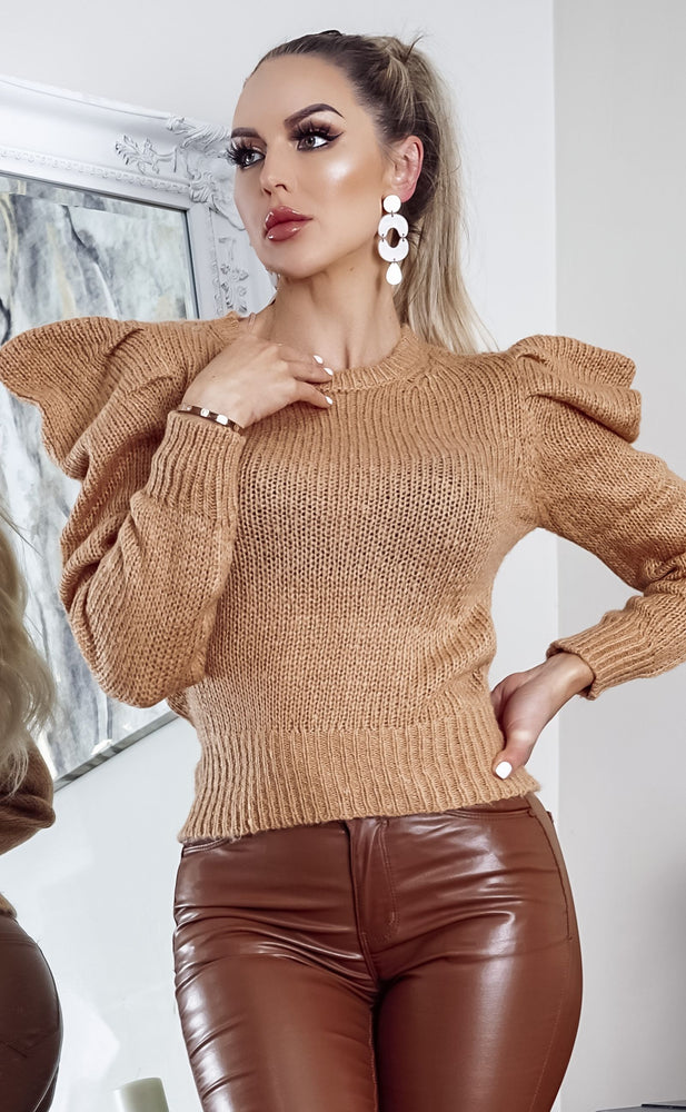 Kimmy Camel Puff Long Sleeve Knit Top - Missfiga.com