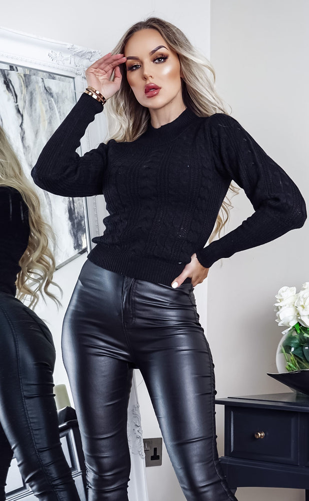 Maxine Black Cable Knit Long Sleeve Top