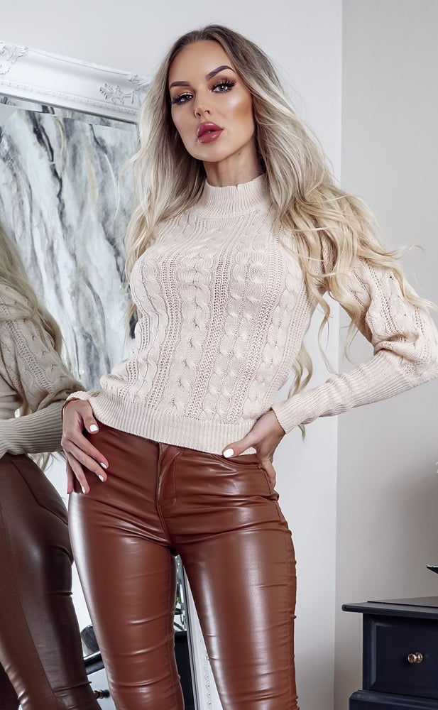 Maxine Camel Cable Knit Long Sleeve Top