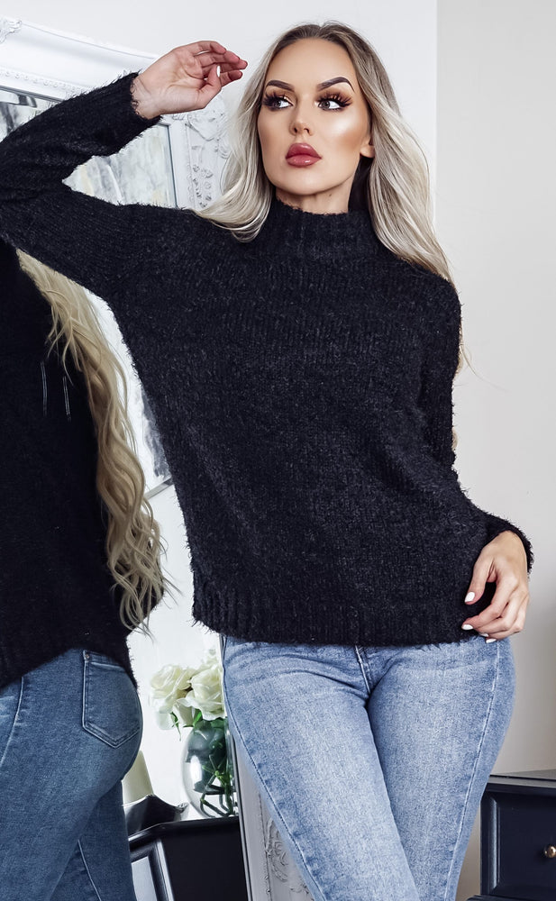 Oppulant Black Turtle Neck Long Sleeve Knit Top - Missfiga.com