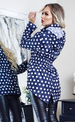 Raven Navy & White Polka Dot Zip Up Rain Mac Jacket - Missfiga.com