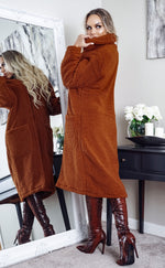 Heavenly Rust Longline Borg Teddy Coat - Missfiga.com