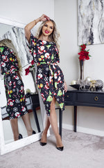 Black Magical Christmas Wrap Judith Wrap Dress