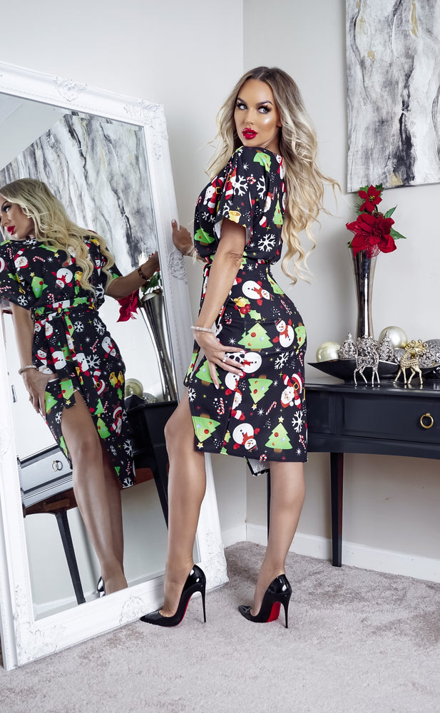 Black Magical Christmas Wrap Judith Wrap Dress - Missfiga.com