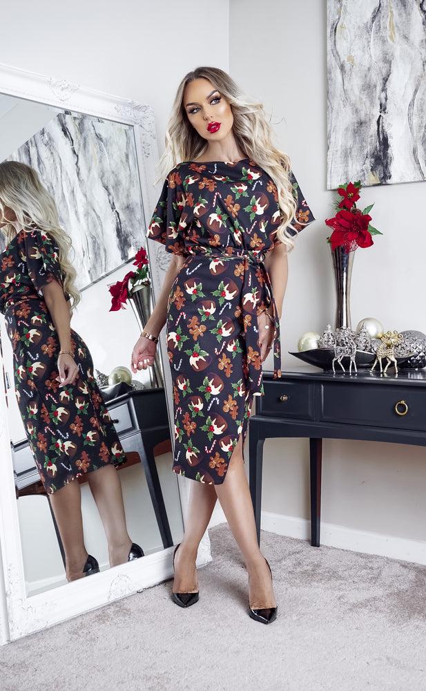 Xmas Pudding Christmas Wrap Judith Wrap Dress