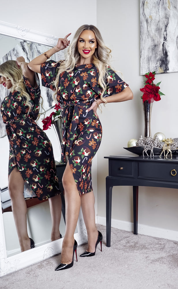 Xmas Pudding Christmas Wrap Judith Wrap Dress - Missfiga.com