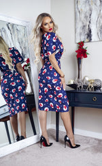 Blue Snowman Christmas Wrap Judith Wrap Dress - Missfiga.com