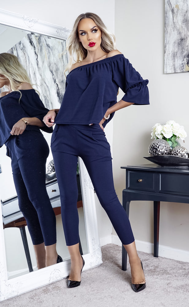 Navy McKenna Frill Off Shoulder Tracksuit Set Lounge Wear - Missfiga.com