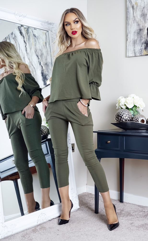 Khaki McKenna Frill Off Shoulder Tracksuit Set Lounge Wear - Missfiga.com