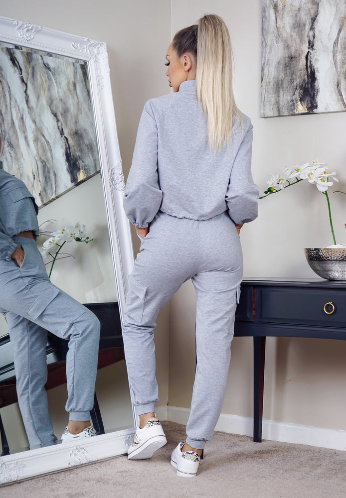 Kenny Grey Cropped Sports Tracksuit - Missfiga.com