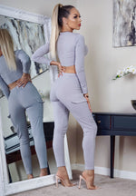 Emery Grey Ribbed Cropped Top Co-ord Set - Missfiga.com