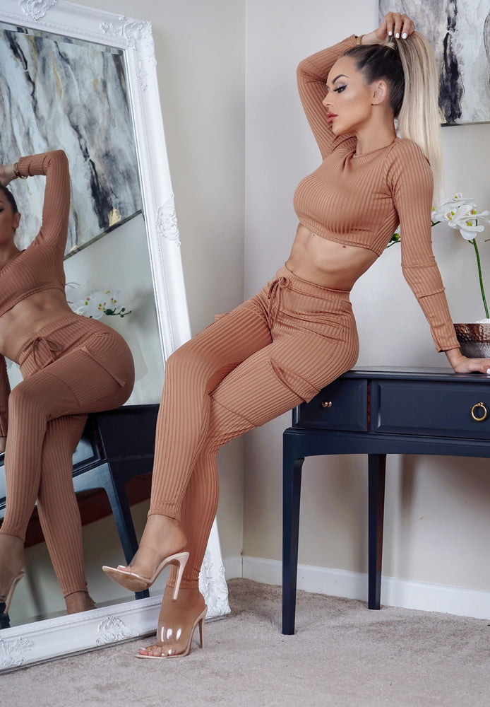 Emery Taupe Ribbed Cropped Top Co-ord Set - Missfiga.com
