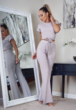 Claire Grey Ribbed Wide Leg Co-Ord Set