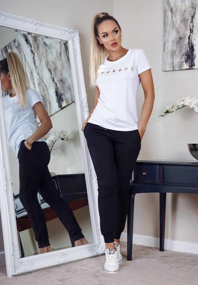 White Weekend Slogan T Shirt - Missfiga.com