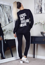 Black 'Cute But Devilish' Stripe Tracksuit - Missfiga.com