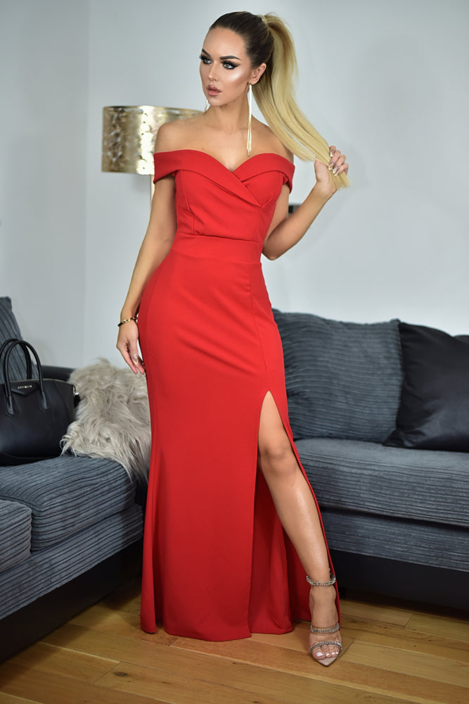 Cher Red Bardot Slit Maxi Dress