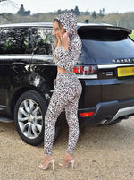 Dawn Leopard Print Crop Top Hoodie And Trousers Co-ord Set