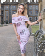 Elodie Nude Floral Print Bardot Cut Out Midi Dress