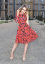Ivanna Red Leopard Print Long Sleeve Flare Skater Dress