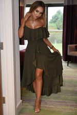 Celine Khaki Wrap Off the Shoulder Frill Dress