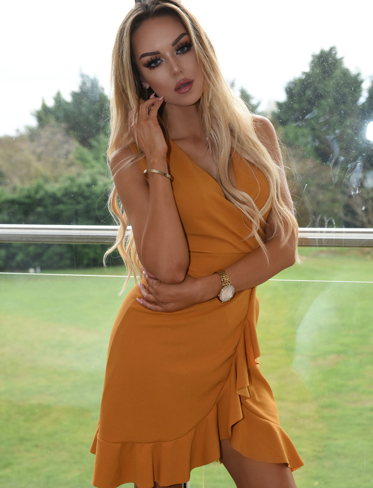 Lizzie Mustard Wrap Frill Tea Dress