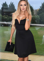 Briony Black V Bar Strappy Skater Dress
