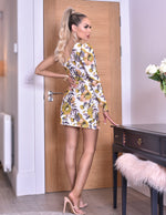 Eden Floral Wrap One Shoulder Volume Sleeve Dress