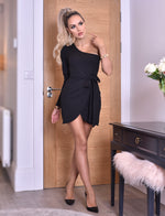 Eden Black Wrap One Shoulder Volume Sleeve Dress