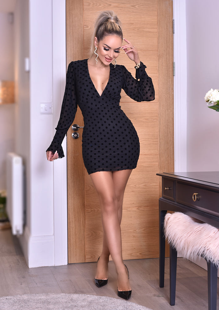 Melanie Black Polka Dot Mesh Plunge Neck Mini Dres