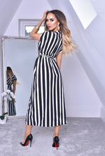 Curtis Monochrome Pinstripe Wrap Slit Maxi Dress
