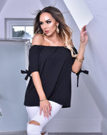 Belen Black Bardot Top