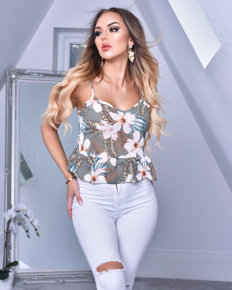 Grey Floral Strappy Peplum Hem Cami Top
