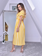 Curtis Mustard Pinstripe Wrap Slit Maxi Dress