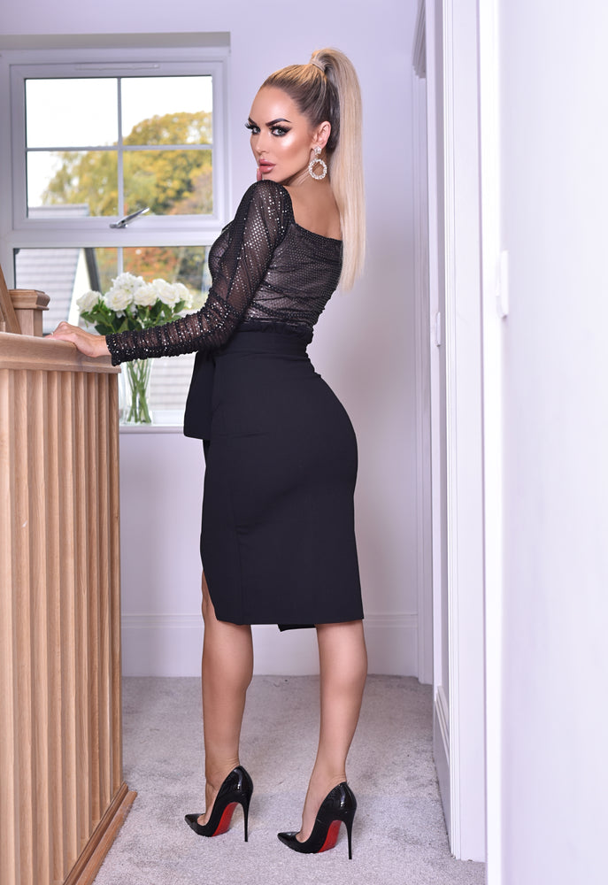 Sian Black Wrapped Belted Midi Skirt - Missfiga.com