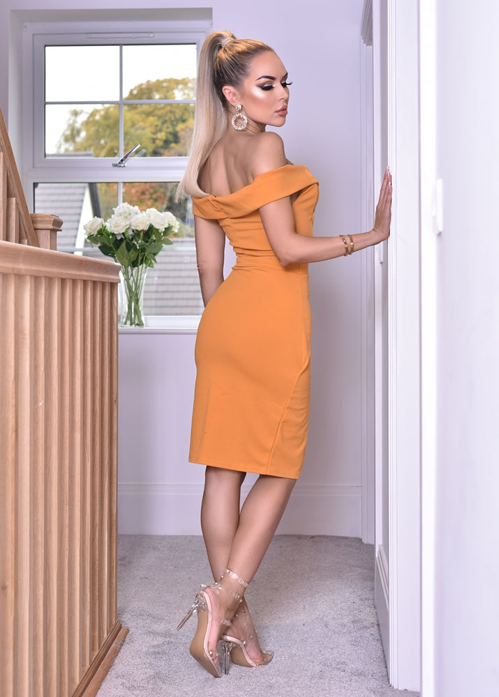 Vinnay Mustard Wrap Off The Shoulder Dress - Missfiga.com