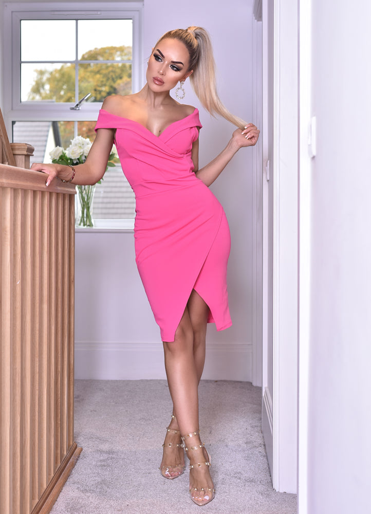 Vinnay Hot Pink Wrap Off The Shoulder Dress