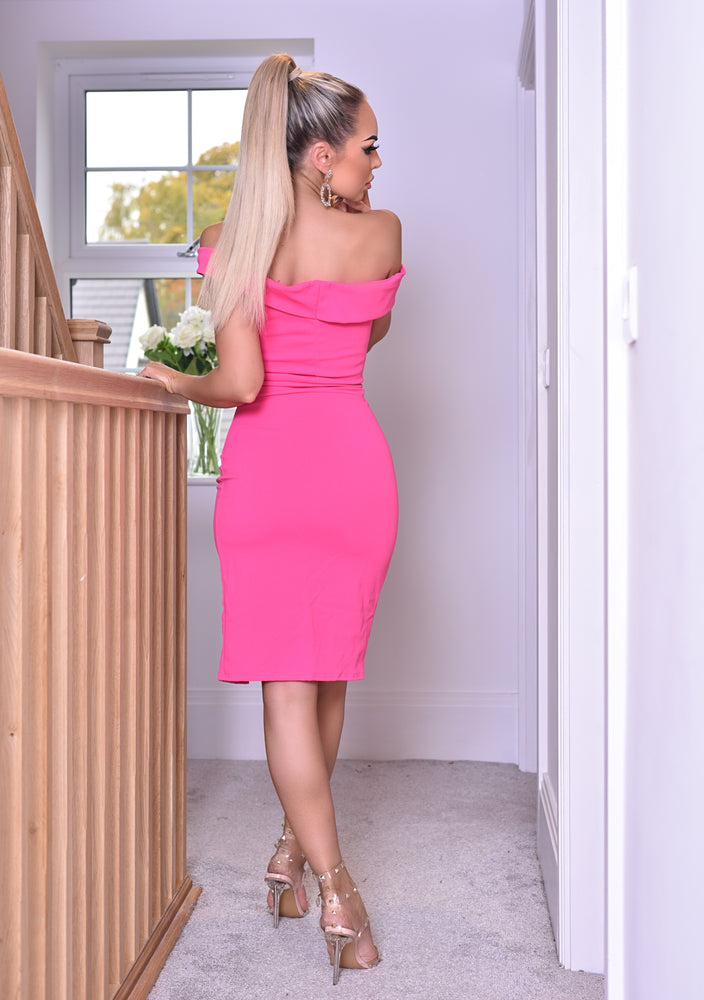 Vinnay Hot Pink Wrap Off The Shoulder Dress - Missfiga.com