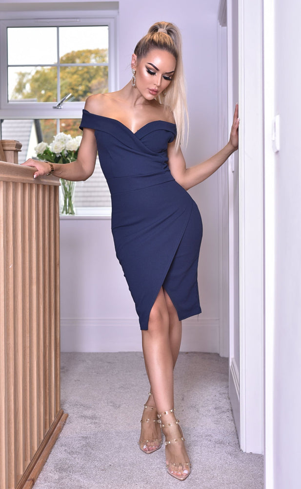 Vinnay Navy Wrap Off The Shoulder Dress