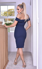 Vinnay Navy Wrap Off The Shoulder Dress - Missfiga.com