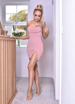 Harlow Blush Split Hem Tube Mini Dress