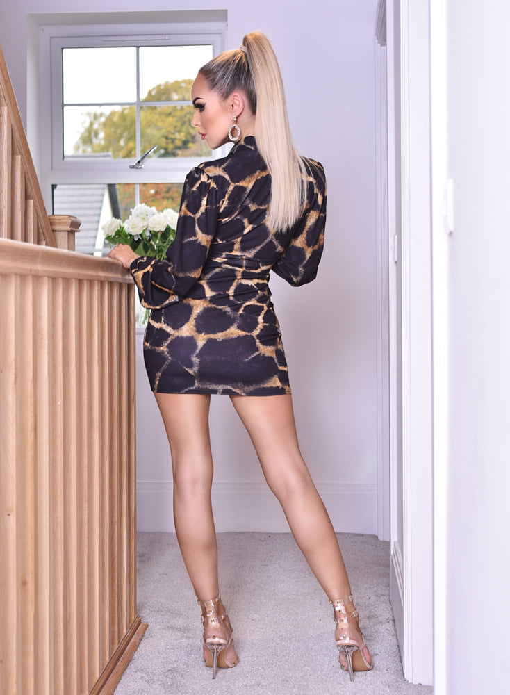 Khloe Plunge Animal Long Sleeve Dress - Missfiga.com