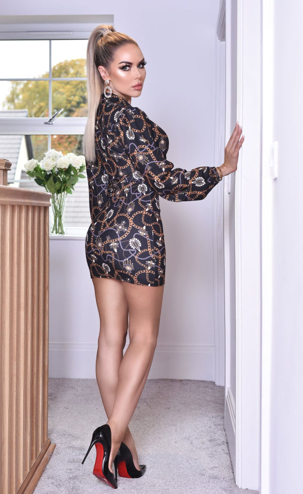 Khloe Plunge Chain Print Long Sleeve Dress - Missfiga.com