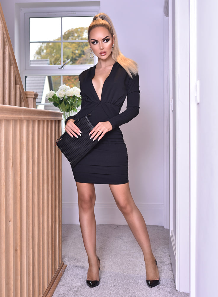 Amanda Black Ruched Plunge Long Sleeve Peplum Dress